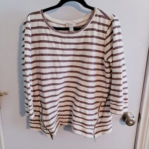 Maroon striped sweater from Ann Taylor Loft